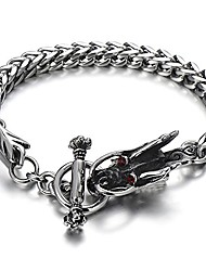 cheap -coolsteelandbeyond gothic biker men stainless steel dragon curb chain bracelet red cubic zirconia toggle clasp