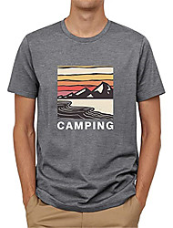 cheap -Men's T shirt Hot Stamping Scenery Graphic Prints Print Short Sleeve Casual Tops 100% Cotton Basic Casual Fashion Blue Gray