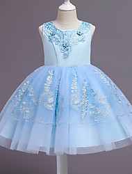cheap -Ball Gown Knee Length Wedding / Event / Party Flower Girl Dresses - Tulle / Polyester Sleeveless Jewel Neck with Tier / Embroidery / Ruching