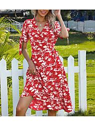 cheap -Women's A Line Dress Knee Length Dress Wine Green Short Sleeve Floral Split Print Summer V Neck Elegant 2021 S M L XL