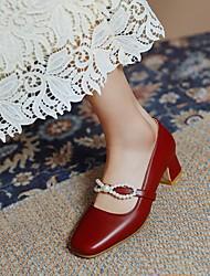 cheap -Women's Heels Chunky Heel Square Toe Microfiber Imitation Pearl Solid Colored Black Burgundy Beige