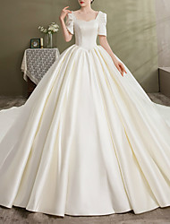 cheap -Princess A-Line Wedding Dresses Scoop Neck Chapel Train Satin Short Sleeve Formal Vintage with Bow(s) Beading 2021