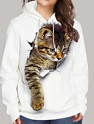 cheap -Women's Hoodie Sweatshirt Cat Graphic 3D Print Daily Sports 3D Print Active Cute Hoodies Sweatshirts  White