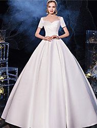 cheap -Princess Ball Gown Wedding Dresses Scoop Neck Floor Length Satin Short Sleeve Simple Vintage with Bow(s) Pleats 2021
