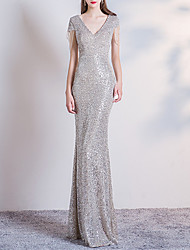 cheap -Mermaid / Trumpet V Neck Floor Length Sequined Bridesmaid Dress with Sequin / Draping