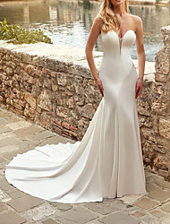 cheap -Sheath / Column Wedding Dresses Strapless Court Train Italy Satin Sleeveless Country Simple with 2021