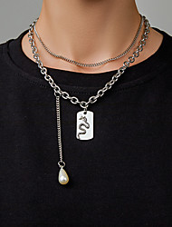 cheap -Men's Women's Pendant Necklace Necklace Monogram Snake Pear Punk European Trendy Imitation Pearl Chrome Silver 21-50 cm Necklace Jewelry For Party Evening Street Prom Birthday Party Festival