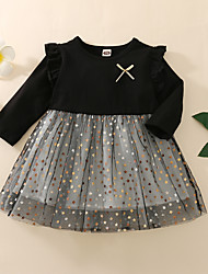 cheap -Toddler Little Girls' Dress Black & Gray Galaxy Causal Print Black Above Knee Long Sleeve Basic Dresses Children's Day Regular Fit 1-5 Years