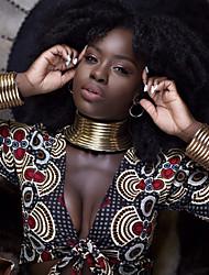 cheap -hengyid african chocker necklace - ankara jewelry - sunkissed marula kente choker & bib african necklace jewelry set (new silver 3ps)