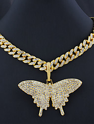 cheap -Men's Women's Necklace Cuban Link Butterfly Trendy Alloy Gold Silver 55 cm Necklace Jewelry 1pc For Masquerade