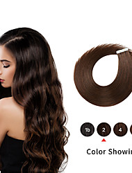 cheap -Tape In Human Hair Extensions 20pcs 16-24 Inch Straight PU Skin Weft Remy Tape Human Hair Natural Color For Women