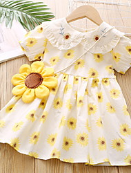 cheap -Kids Little Girls' Dress Floral Print Yellow Knee-length Short Sleeve Basic Dresses Summer Regular Fit 3-8 Years