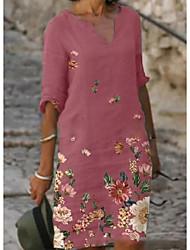 cheap -Women's Shirt Dress Knee Length Dress Black Blushing Pink Khaki Gray Half Sleeve Floral Print Summer V Neck Elegant 2021 S M L XL XXL 3XL
