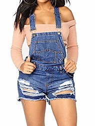 cheap -women's ripped distressed denim overall short romper high waist bib overall adjustable straps jumpsuits shorts