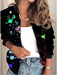 cheap -Women's Print Print Active Spring &  Fall Jacket Regular Daily Long Sleeve Air Layer Fabric Coat Tops Black