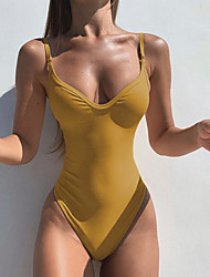cheap -Women's One Piece Swimsuit Blue Yellow Blushing Pink Black Swimwear Halter Bathing Suits