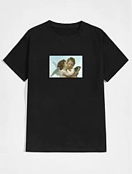 cheap -Men's Unisex T shirt Hot Stamping Portrait Plus Size Print Short Sleeve Casual Tops 100% Cotton Basic Casual Fashion Black