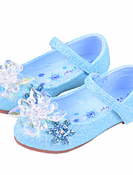 cheap -Girls' Flats Flower Girl Shoes Princess Shoes School Shoes Rubber PU Little Kids(4-7ys) Big Kids(7years +) Daily Party & Evening Walking Shoes Rhinestone Crystal Sparkling Glitter Blue Dark Blue Fall