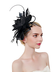 cheap -Feathers Headpiece with Flower 1 PC Party / Evening / Horse Race Headpiece