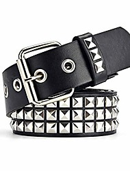 cheap -punk leather belt,studded belt square beads rivet belt metal pyramid belt for jeans (silver)
