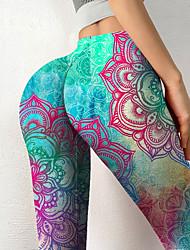 cheap -Women's Colorful Novelty Comfort Leisure Sports Weekend Leggings Pants Color Block Geometry Ankle-Length Sporty Elastic Waist Print Green