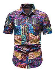 cheap -Men's Shirt Other Prints Abstract Short Sleeve Daily Tops 100% Cotton Purple