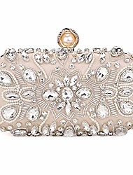 cheap -womens crystal evening clutch bag wedding purse bridal prom handbag party bag,beige.