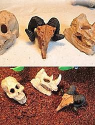 cheap -Aquarium Decoration Resin Rhinoceros Horned Skull Goat-Head Shape Fish Tank Ornament Spider Scorpion Lizard Aquarium Shelter