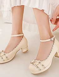 cheap -Women's Lolita Shoes Chunky Heel Round Toe Microfiber Bowknot Rivet Lace Solid Colored Almond White Black