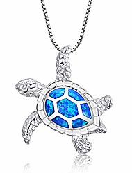 """cheap -victoria jewelry [health and longevity] 925 sterling silver created blue opal sea turtle pendant necklace 18"""", birthstone jewelry for women(blue)"""