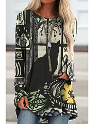 cheap -Women's T Shirt Dress Tee Dress Short Mini Dress Large quantities of spot goods shipped on the same day S:185g 5XL:250g Blue Red Gray Long Sleeve Print Print Summer Round Neck Elegant 2021 S M L XL