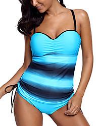cheap -Women's Tankini Swimsuit High Waist Blue Purple Brown Swimwear Padded Bathing Suits Sexy