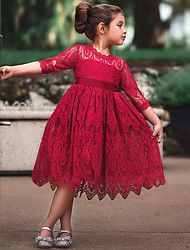 cheap -Kids Little Girls' Dress Solid Colored Hollow Out Lace White Red Beige Knee-length Half Sleeve Active Bowknot Cute Dresses 2-8 Years