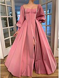 cheap -A-Line Minimalist Elegant Engagement Prom Dress Scoop Neck Long Sleeve Floor Length Taffeta with Split 2021