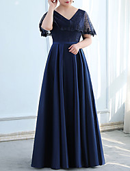 cheap -A-Line Minimalist Plus Size Wedding Guest Formal Evening Dress V Neck Half Sleeve Floor Length Satin with Lace Insert 2021