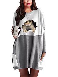 cheap -Women's Plus Size Dress T Shirt Dress Tee Dress Short Mini Dress Long Sleeve Cat Graphic 3D Patchwork Print Casual