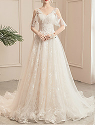 cheap -Princess Ball Gown Wedding Dresses V Neck Chapel Train Lace Tulle Sequined Short Sleeve Formal Romantic Sparkle & Shine with Beading Sequin Appliques 2021