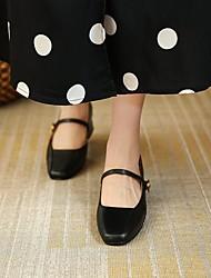 cheap -Women's Heels Chunky Heel Square Toe PU Synthetics White Black Brown