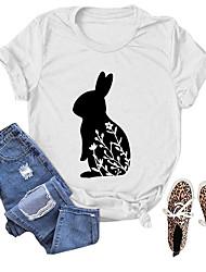 cheap -Women's T shirt Floral Graphic Animal Print Round Neck Basic Tops Retro blue (white font) Dark gray (white font) White (black font)