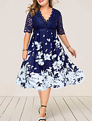 cheap -Women's Plus Size Dresses Swing Dress Midi Dress Flare Cuff Sleeve Half Sleeve Floral Lace Print V Neck Vintage Summer Dark Blue L XL XXL 3XL 4XL