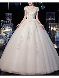 cheap -Princess Ball Gown Wedding Dresses V Neck Floor Length Lace Tulle Short Sleeve Formal Romantic with Beading Appliques 2021