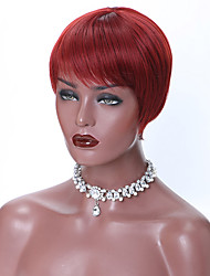 cheap -Short Red Black Pixie Cut Synthetic Wigs for Women Natural Wigs