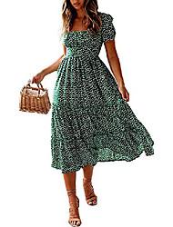baratos -Vestido longo maxi boêmio fofo com estampa floral para mulheres para a primavera / verão (pequeno, verde / branco floral)