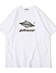 cheap -Men's T shirt Hot Stamping Graphic Prints Spaceship Print Short Sleeve Casual Tops 100% Cotton Basic Casual Fashion White