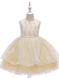 cheap -Princess / Ball Gown Knee Length Wedding / Party Flower Girl Dresses - Satin / Tulle Sleeveless Jewel Neck with Bow(s) / Beading / Embroidery