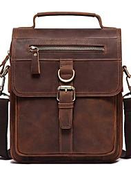 cheap -Men's Bags Nappa Leather Cowhide Crossbody Bag Zipper Daily Handbags MessengerBag Coffee