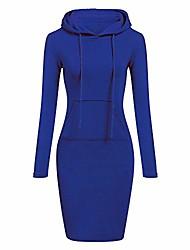 cheap -Women's Shirt Dress Knee Length Dress Wine Purple Yellow Gray Royal Blue Black Long Sleeve Solid Color N / A Cotton 2021 S M L XL 2XL