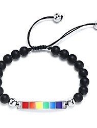 cheap -Bead Bracelet Beads Rainbow Simple Stone Bracelet Jewelry White beads / Black beads For Gift