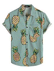 cheap -Men's Shirt Floral Short Sleeve Daily Tops 100% Cotton Basic Boho Green