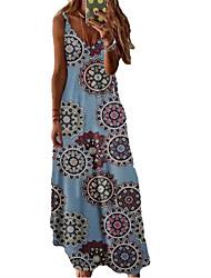 cheap -Women's A Line Dress Maxi long Dress White Black Blue Red Yellow Blushing Pink Wine Fuchsia Green Dusty Blue Sleeveless Floral Spring Summer V Neck Casual 2021 XS S M L XL XXL 3XL 4XL 5XL 6XL